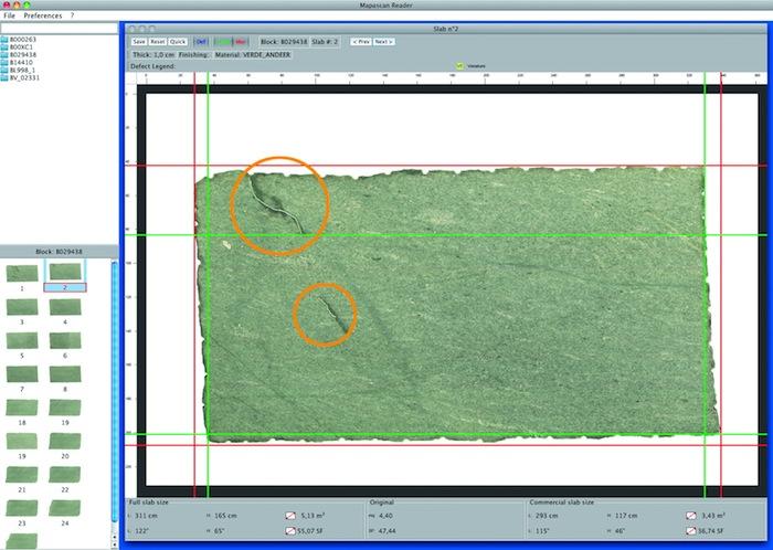 Scansiona e mostra i difetti della lastra scannerizzata